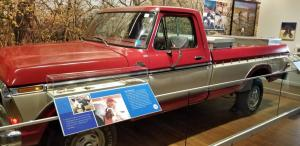 Sam Walton's 1979 Ford truck that he drive on a daily basis, often accompanied by his dogs.